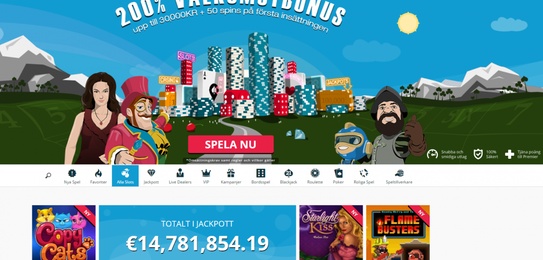 Online casino Spinlands startsida